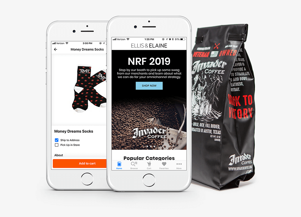 Download our NRF demo app to pre-order swag from our top clients and pick it up in our booth. From Floyd Mayweather's signature socks to Invader coffee, we've got the goods.